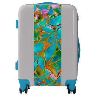 Luggage Suitcases Floral Abstract Stained Glass
