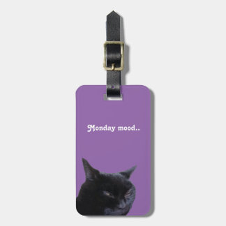 Luggage Tag cat Monday mood by Billy Bernie