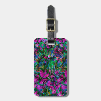 Luggage Tag Floral Abstract Stained Glass