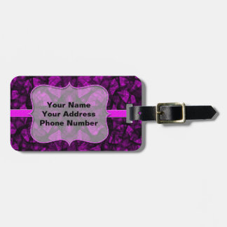 Luggage Tag fractal art black and pink