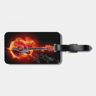 luggage tag, guitar, rock and roll, hell