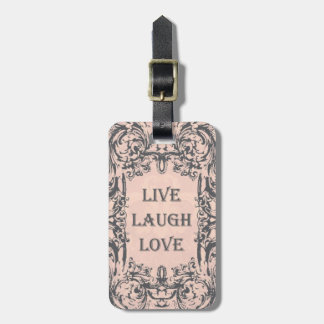 Luggage Tag LIVE LAUGH LOVE pink and grey