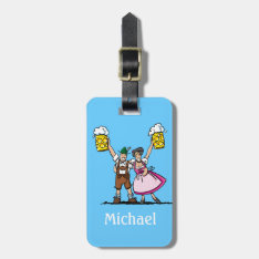 Luggage Tag Oktoberfest Beer Couple Cheers at Zazzle