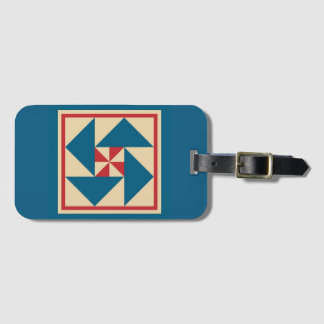 Luggage Tag - Patriotic Spin Quilt Block (blue)