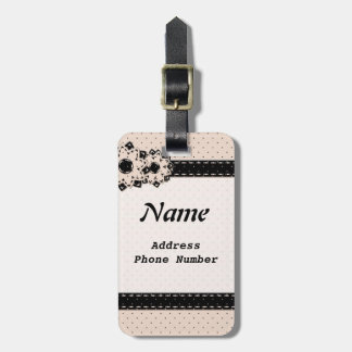 Luggage Tag  Polka Dot and Flowers
