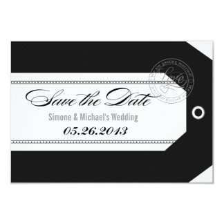 Luggage Tag Save the Dates classic black + white 3.5x5 Paper Invitation Card