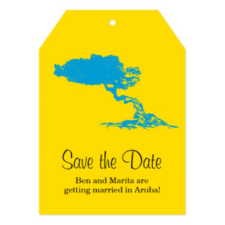 Luggage Tag to Aruba | Save the Date 5x7 Paper Invitation Card
