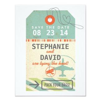 "Luggage Tag Vintage Destination Wedding Save Date 4.25"" X 5.5"" Invitation Card"