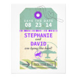 Luggage Tag Vintage Destination Wedding Save Date Announcements
