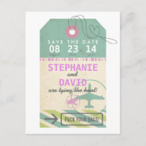 Luggage Tag Vintage Destination Wedding Save Date Save The Date