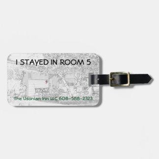 "Luggage Tag w/ leather strap -""I stayed in room 5"""
