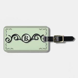 Luggage Tag w/ leather strap IRONWORK SCROLLWORK 1