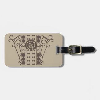 Luggage Tag w/ leather strap IRONWORK SCROLLWORK 2