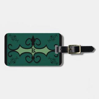 Luggage Tag w/ leather strap IRONWORK SCROLLWORK 3