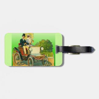 Luggage Tag w Vintage Image: Couple & antique Car
