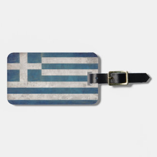 Luggage Tag with Dirty Vintage Flag from Greece
