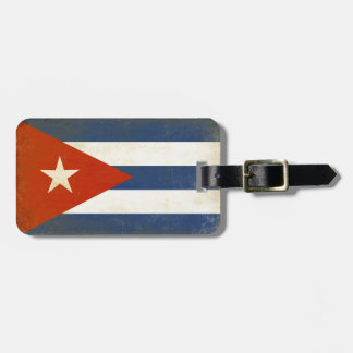 Luggage Tag with Distressed Vintage Flag from Cuba