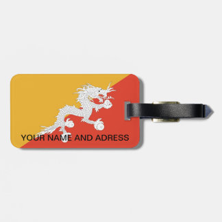 Luggage Tag with Flag of Bhutan