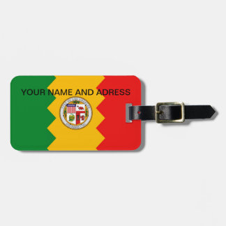 Luggage Tag with Flag of Los Angeles, California