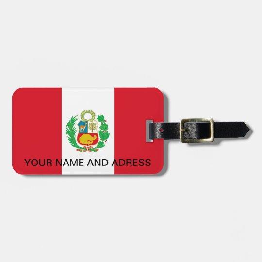 Luggage Tag with Flag of Peru