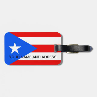 Luggage Tag with Flag of Puerto Rico, USA