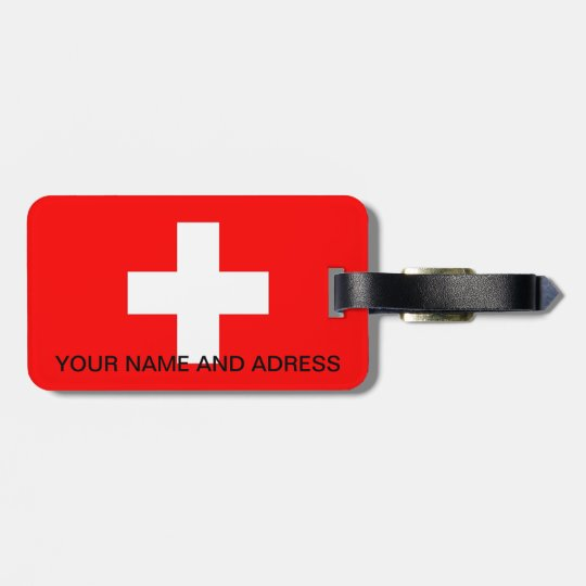 Luggage Tag with Flag of Switzerland