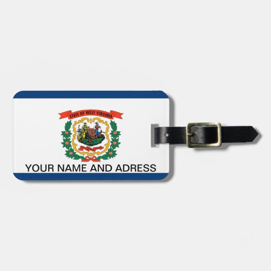 Luggage Tag with Flag of West Virginia, USA