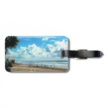 Beach Themed Luggage Tag with Leather Strap Beach.