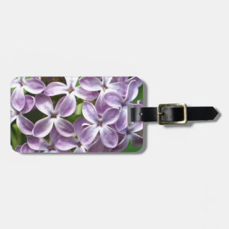luggage tag with photo of beautiful purple lilacs