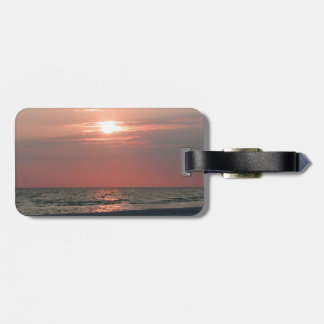 luggage tag with photo of beautiful sunset