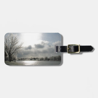 luggage tag with photo of icy winter landscape