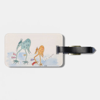 luggage tag with Pud and Beaky