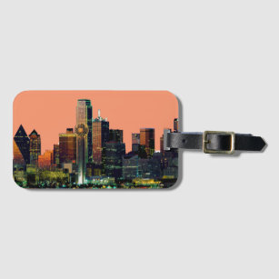 Luggage tag with the Dallas Skyline