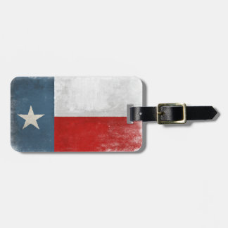 Luggage Tag with Vintage Distressed Texas Flag
