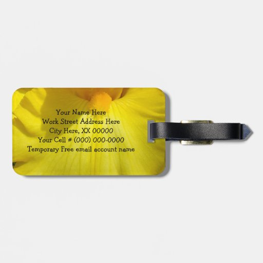 Luggage Tags Yellow iris Flowers Travel Vacations