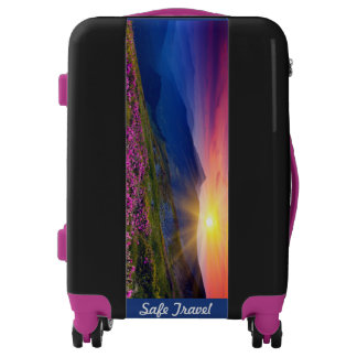 Luggage Your Name Mountain Sunset Lock Wheels SPIN