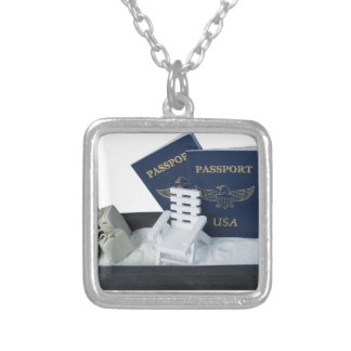 LuggageBeachChairPassports011815.png Square Pendant Necklace