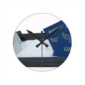 LuggageOnSandwithPassports011815.png Round Clock
