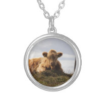 Luing cow on the Isle of Islay, Scotland Silver Plated Necklace
