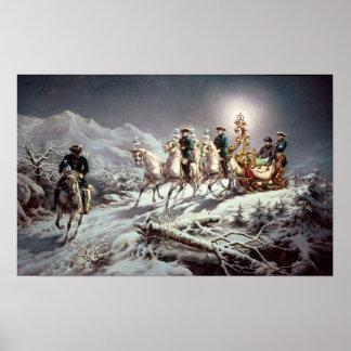 Luis II de Baviera Sleighing en la noche Póster