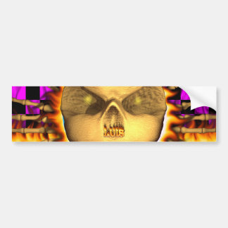 Luis skull real fire and flames bumper sticker des