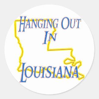 Luisiana - colgando hacia fuera pegatinas redondas