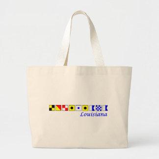 Luisiana deletreó en alfabeto náutico de la bander bolsas