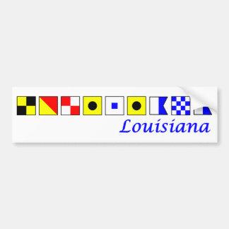 Luisiana deletreó en alfabeto náutico de la bander pegatina de parachoque