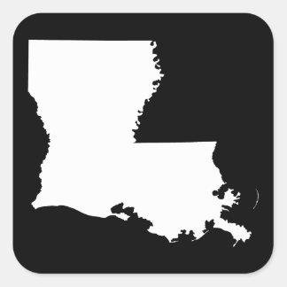 Luisiana en blanco y negro pegatina cuadrada