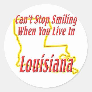 Luisiana - sonriendo pegatina redonda