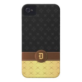 Lujo de oro del monograma con el cuero cosido el | iPhone 4 cárcasas