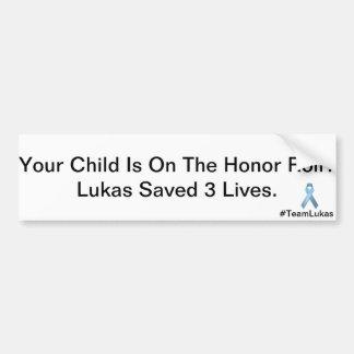 Lukas Saved Lives Car Bumper Sticker