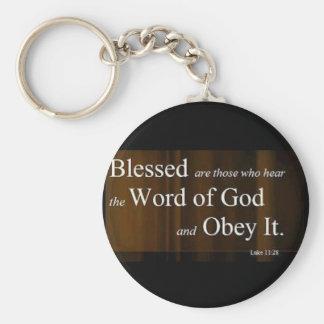 Luke 11:28 basic round button keychain