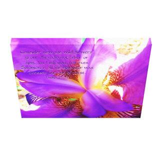 Luke 12:27 on Purple Iris Canvas Print